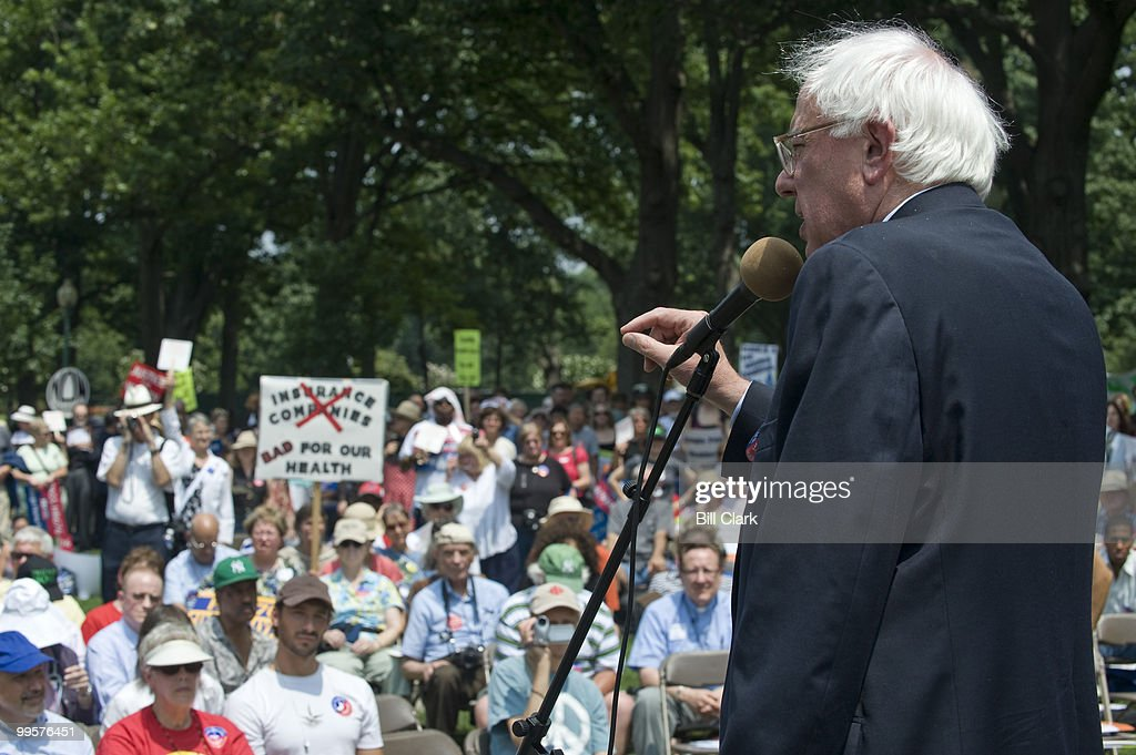 Sen. Bernie Sanders, I-Vt., speaks at the Leadership Conference for Guaranteed Healthcare rally in Upper Senate Park on Thursday, July 30, 2009.