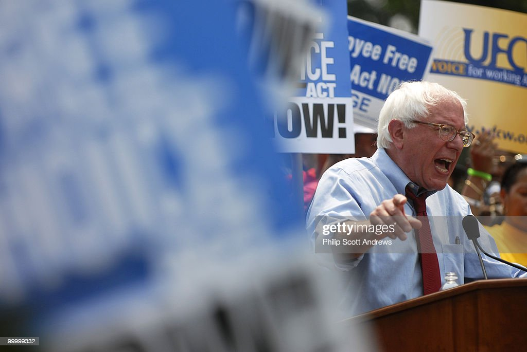Sen. Bernie Sanders, I-Vt. speaks at the pro labor rally in the Upper Senate Park on Tuesday, June 19, 2007. The rally was put on by The American Federation of State, County and Municipal Employees in support of the Employee Free Choice Act.
