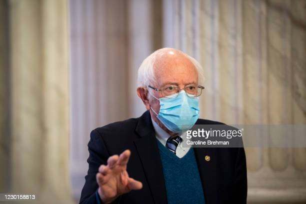 December 16: Sen. Bernie Sanders, I-Vt., talks during an interview with MSNBC in the Russell Rotunda in Washington on Wednesday, Dec. 16, 2020.