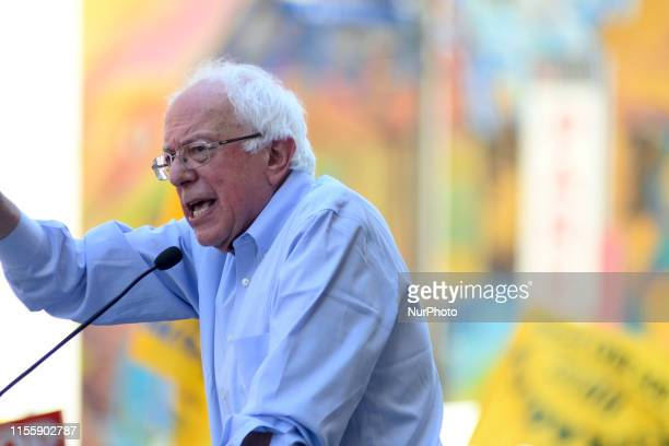 Sen Bernie Sanders joined by hospital workers union members and local politicians protests the imminent closure of Hahnemann University Hospital at a...