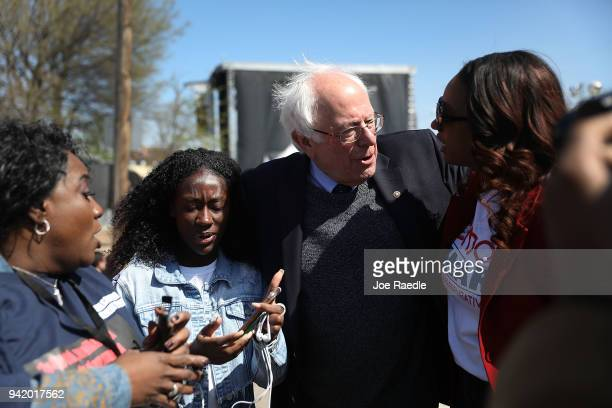 Sen Bernie Sanders joins others to mark the 50th anniversary of Dr Martin Luther King Jr's assassination April 4 2018 in Memphis Tennessee American...