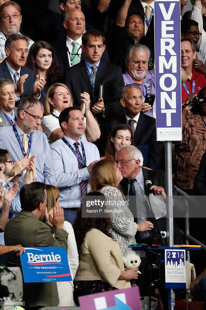 Sen. Bernie Sanders kisses his wife Jane O'Meara Sanders after the Vermont delegation cast their votes during roll call on the second day of the Democratic National Convention at the Wells Fargo Center, July 26, 2016 in Philadelphia, Pennsylvania. Democratic presidential candidate Hillary Clinton received the number of votes needed to secure the party's nomination. An estimated 50,000 people are expected in Philadelphia, including hundreds of protesters and members of the media. The four-day Democratic National Convention kicked off July 25.