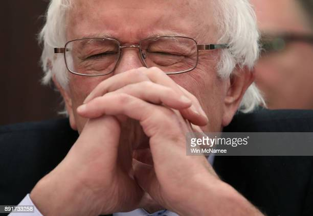 Sen Bernie Sanders listens as Republican members of the US Senate and US House of Representatives deliver opening statements at a SenateHouse...