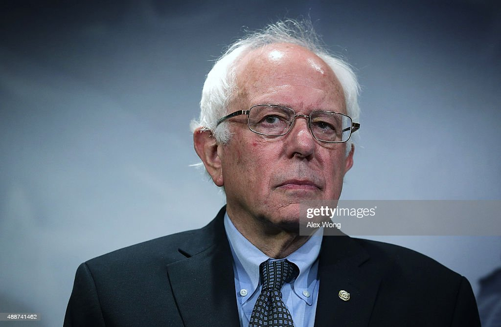 U.S. Sen. Bernie Sanders (I-VT) listens during a news conference about private prisons September 17, 2015 on Capitol Hill in Washington, DC. Sanders was joined by Rep. Keith Ellison (D-MN) to announce that they will introduce bills to ban private prisons.