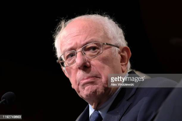 Sen Bernie Sanders listens during a press conference on Capitol Hill presenting the No War Against Iran Act on Thursday January 9 2020 in Washington...