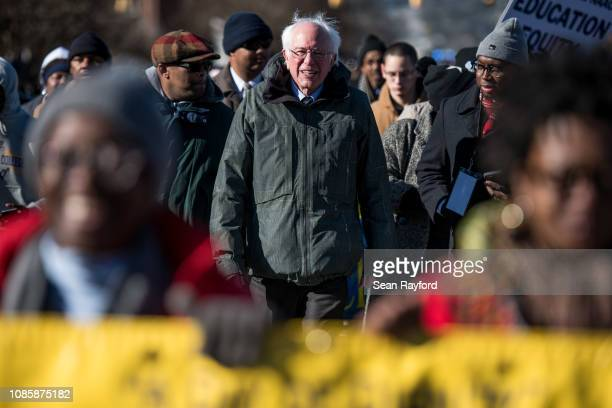 S Sen Bernie Sanders marches to the Statehouse in commemoration of Martin Luther King Jr Day on January 21 2019 in Columbia South Carolina The South...