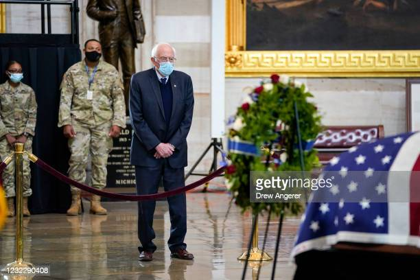"Sen. Bernie Sanders pays his respects to the late U.S. Capitol Police officer William ""Billy"" Evans as he lies in honor in the Rotunda at the U.S...."