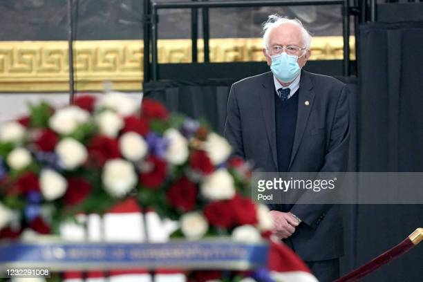 Sen. Bernie Sanders , pays respects to the late Capitol Police officer William Evans lies in honor in the U.S. Capitol rotunda on April 13, 2021 in...
