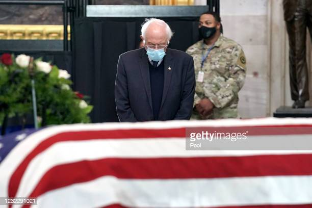 Sen. Bernie Sanders pays respects to the late Capitol Police officer William Evans lies in honor in the U.S. Capitol rotunda on April 13, 2021 in...