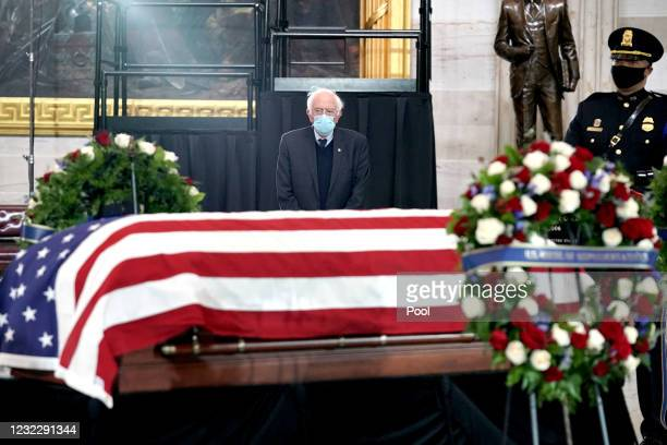 Sen. Bernie Sanders pays respects to the late Capitol Police officer William Evans who lies in honor in the U.S. Capitol rotunda on April 13, 2021 in...