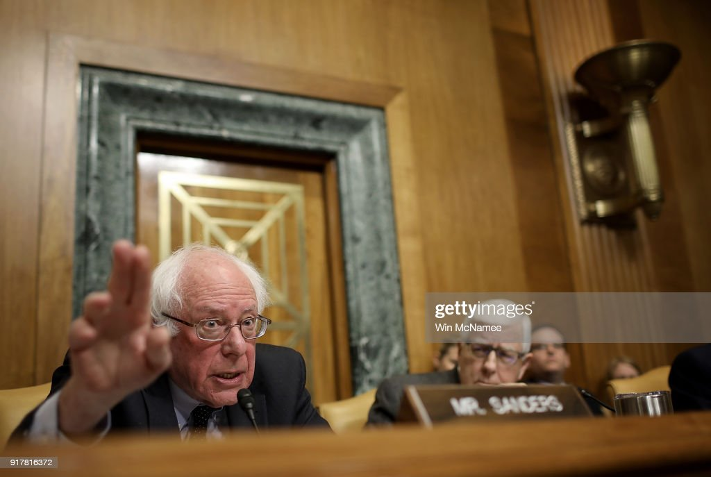 Sen. Bernie Sanders (I-VT) questions Office of Management and Budget Director Mick Mulvaney during a hearing held by the Senate Budget Committee February 13, 2018 in Washington, DC. Mulvaney testified on U.S. President Donald Trump's fiscal year 2019 budget proposal that was released yesterday.