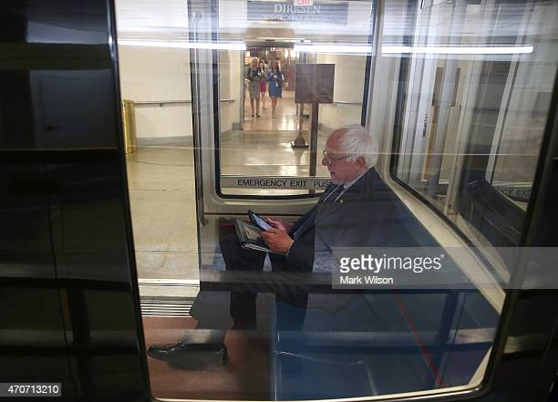 Sen. Bernie Sanders rides on the Senate subway to attend a series of votes at Capitol building April 22, 2015 in Washington, DC. Earlier today Sen....
