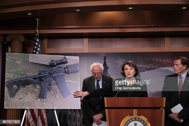 Sen Bernie Sanders Sen Dianne Feinstein and Sen Richard Blumenthal hold a news conference to announce proposed gun control legislation at the US...