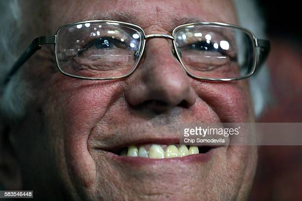 Sen Bernie Sanders smiles while attending roll call on the second day of the Democratic National Convention at the Wells Fargo Center July 26 2016 in...
