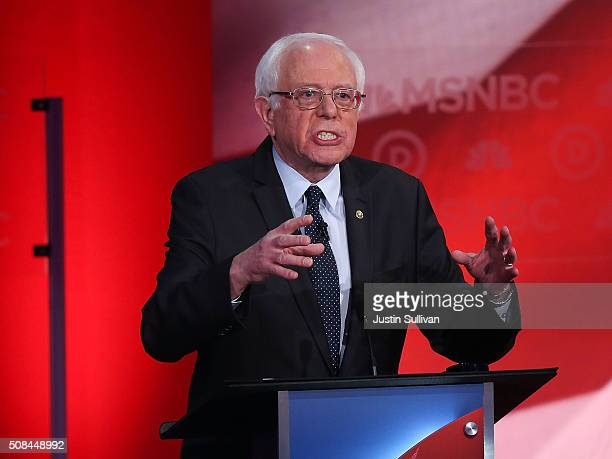 S Sen Bernie Sanders speaks as he debates with Democratic presidential candidates former Secretary of State Hillary Clinton during their MSNBC...