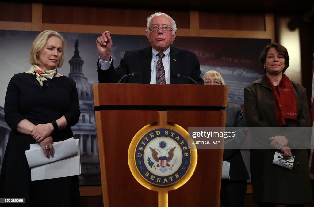 U.S. Sen. Bernie Sanders (C) (I-VT) speaks as Sen. Kirsten Gillibrand (L) (D-NY) and Sen. Amy Klobuchar (R) (D-MN) look on during a news conference at the U.S. Capitol on March 14, 2017 in Washington, DC. Senate Democrats annouced legislation to ensure American workers receive paid medical and family leave.