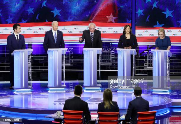 Sen Bernie Sanders speaks as South Bend Indiana Mayor Pete Buttigieg former Vice President Joe Biden Sen Kamala Harris and Sen Kirsten Gillibrand...