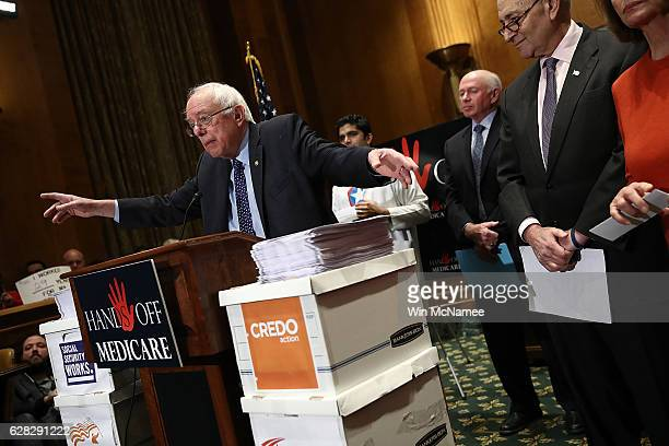 Sen Bernie Sanders speaks at a press conference on Medicare benefits on Capitol Hill December 7 2016 in Washington DC The press conference held by...