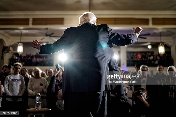Sen Bernie Sanders speaks during a campaign event at the Danceland Ballroom on January 29 2016 in Davenport Iowa Sanders continued to seek support...