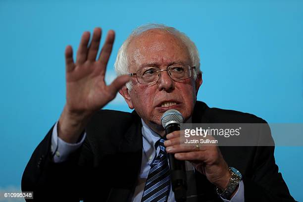 S Sen Bernie Sanders speaks during a campaign rally with democratic presidential nominee former Secretary of State Hillary Clinton at University of...