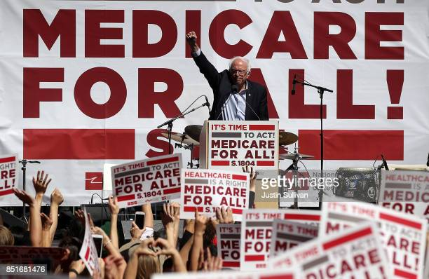 S Sen Bernie Sanders speaks during a health care rally at the 2017 Convention of the California Nurses Association/National Nurses Organizing...