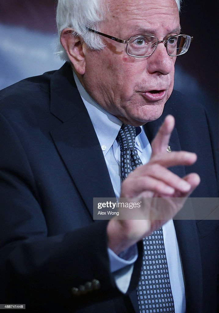 U.S. Sen. Bernie Sanders (I-VT) speaks during a news conference about private prisons September 17, 2015 on Capitol Hill in Washington, DC. Sanders was joined by Rep. Keith Ellison (D-MN) to announce that they will introduce bills to ban private prisons.