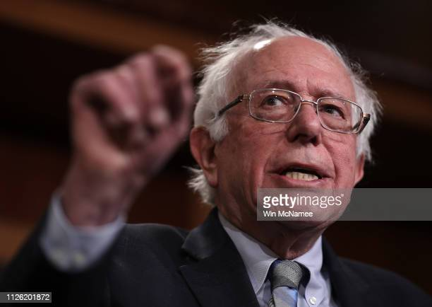 Sen Bernie Sanders speaks during a press conference at the US Capitol January 30 2019 in Washington DC Sanders and other members of the US Senate and...