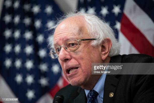 Sen Bernie Sanders speaks during a press conference to announce legislation to extend and expand funding for community health centers and the...