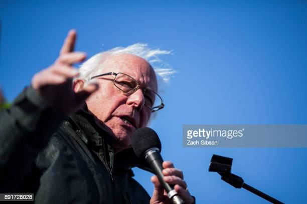 Sen Bernie Sanders speaks during a rally against the Republican tax plan on December 13 2017 in Washington DC