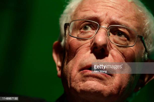 S Sen Bernie Sanders speaks during a rally at Howard University May 13 2019 in Washington DC The Sunrise Movement held an event for the final stop of...