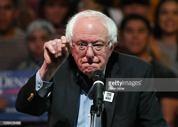 S Sen Bernie Sanders speaks during a rally for Nevada Democratic candidates at the Las Vegas Academy of the Arts on October 25 2018 in Las Vegas...