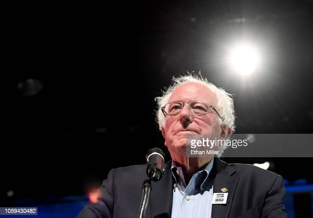 Sen. Bernie Sanders speaks during a rally for Nevada Democratic candidates at the Las Vegas Academy of the Arts on October 25, 2018 in Las Vegas,...