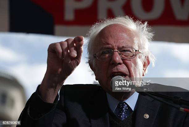 S Sen Bernie Sanders speaks during a rally on jobs December 7 2016 at Freedom Plaza in Washington DC Our Revolution and Good Jobs Nation the...
