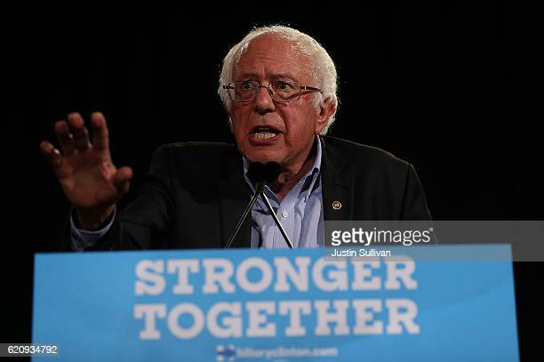S Sen Bernie Sanders speaks during campaign rally with Democratic presidential nominee Hillary Clinton at Coastal Credit Union Music Park at Walnut...
