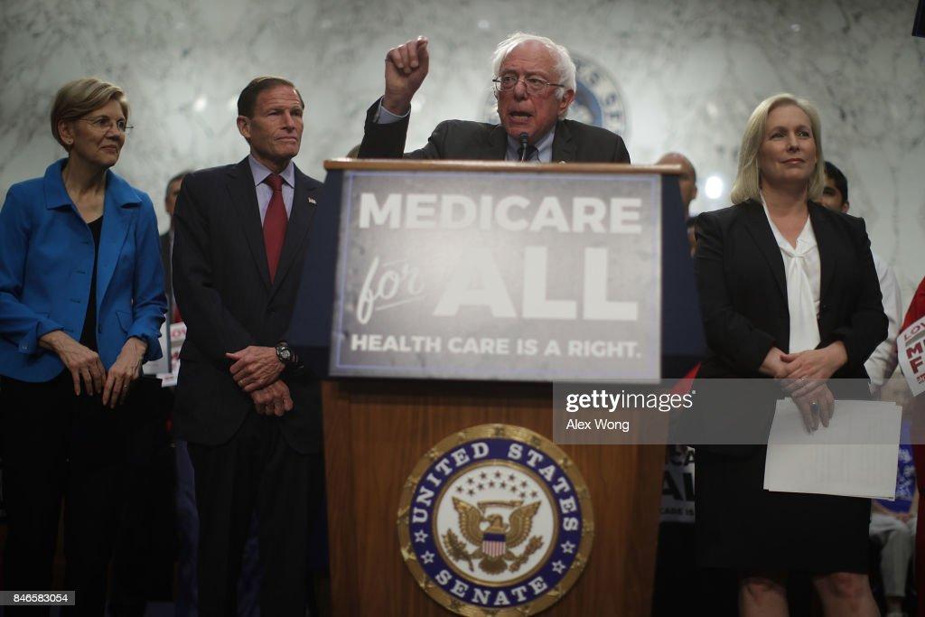U.S. Sen. Bernie Sanders (I-VT) (3rd L) speaks on health care as (L-R) Sen. Elizabeth Warren (D-MA), Sen. Richard Blumenthal (D-CT) and Sen. Kirsten Gillibrand (D-NY) listen during an event September 13, 2017 on Capitol Hill in Washington, DC. Sen. Sanders held an event to introduce the Medicare for All Act of 2017.