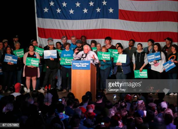 Sen Bernie Sanders speaks to a crowd of supporters at a Democratic unity rally at the Rail Event Center on April 21 2017 in Salt Lake City Utah...