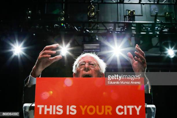 Sen Bernie Sanders speaks to attendees during a campaign rally for Mayor Bill De Blasio on October 30 2017 in New York City New York City Mayor Bill...