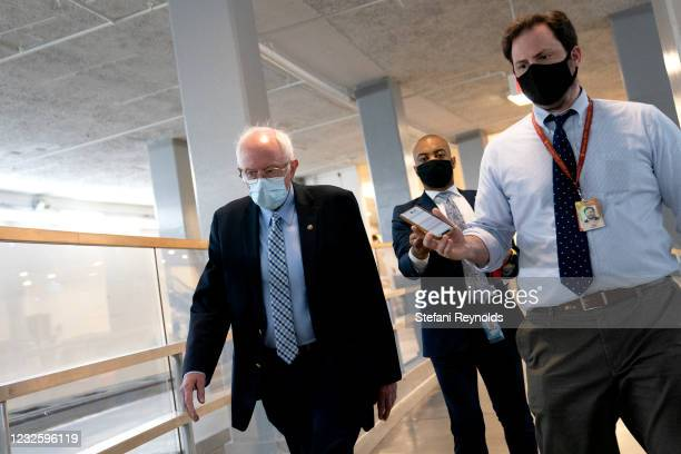 Sen. Bernie Sanders speaks to members of the media in the Senate Subway on April 29, 2021 in Washington, DC. U.S. President Joe Biden unveiled a $1.8...