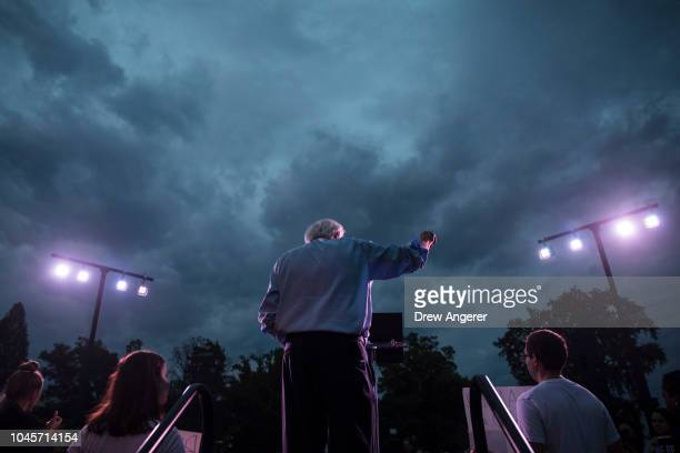S Sen Bernie Sanders speaks to protestors rallying against Supreme Court nominee Judge Brett Kavanaugh on Capitol Hill October 4 2018 in Washington...