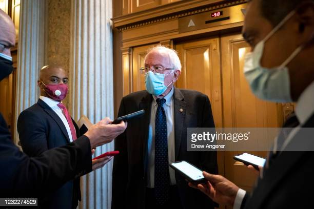 Sen. Bernie Sanders speaks to reporters following a procedural vote on the nomination of Polly Ellen Trottenberg to be Deputy Secretary of...