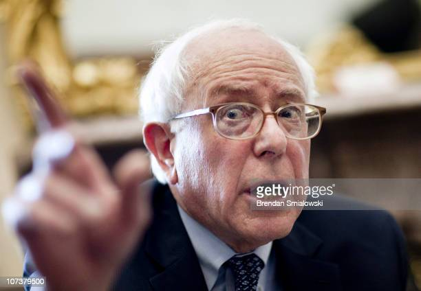 S Sen Bernie Sanders speaks to reporters on Capitol Hill on December 7 2010 in Washington DC The Obama administration is pushing for Congress to...