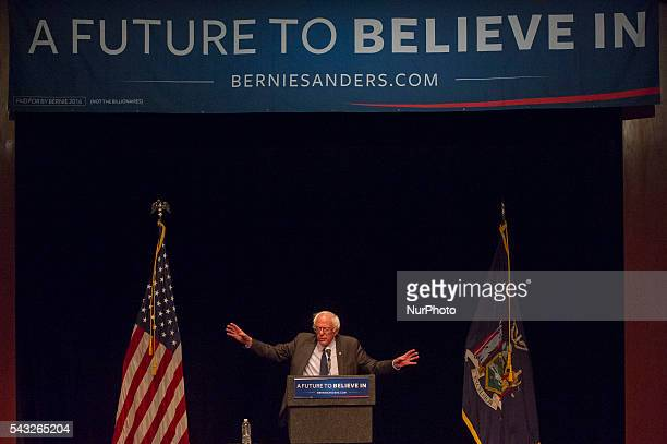 US Sen Bernie Sanders speaks to supporters in Manhattan at an event where he went over his core political beliefs on June 23 2016 in New York City...