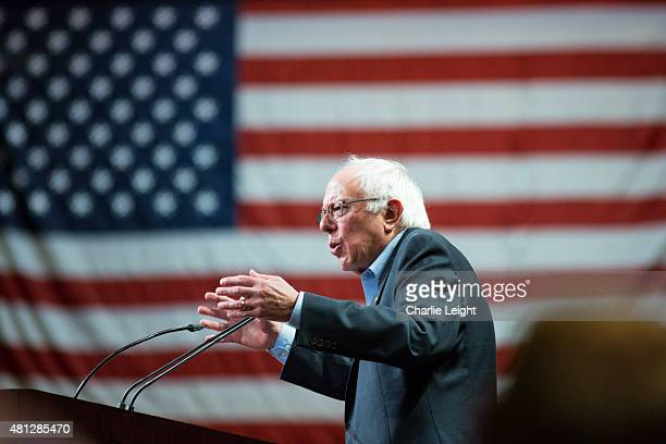 S Sen Bernie Sanders speaks to the crowd at the Phoenix Convention Center July 18 2015 in Phoenix Arizona The Democratic presidential candidate spoke...