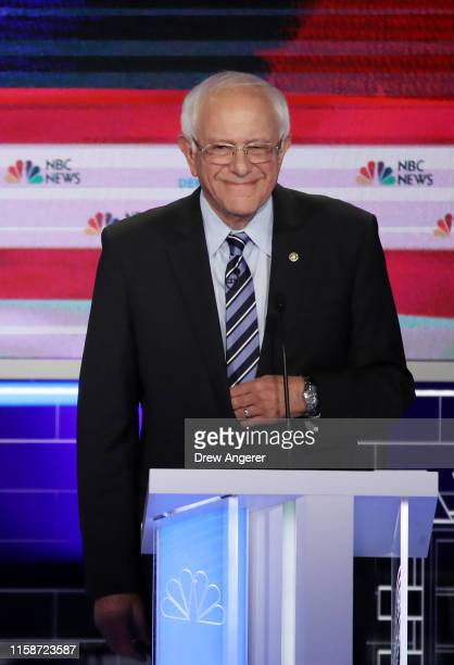 Sen Bernie Sanders takes the stage for the second night of the first Democratic presidential debate on June 27 2019 in Miami Florida A field of 20...