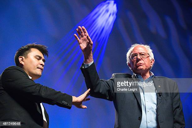 S Sen Bernie Sanders takes the stage to at the Netroots Nation 2015 Presidential Town Hall with moderator Jose Antonio Vargas at the Phoenix...