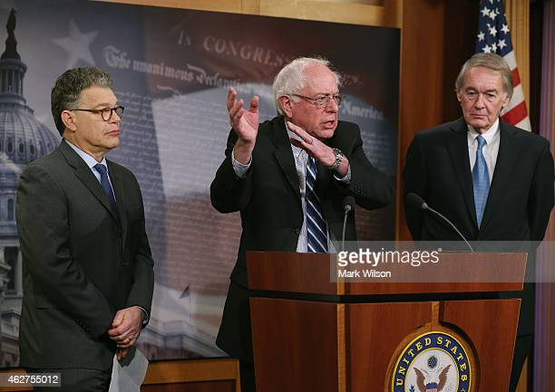Sen Bernie Sanders talks about net neutrality while flanked by Sen Al Franken and Sen Edward Markey during a news conference on Capitol Hill February...