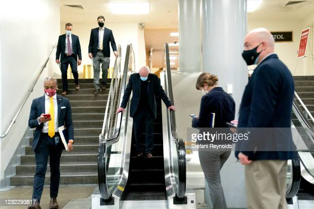 Sen. Bernie Sanders walks through the Senate Subway during a roll call vote on April 13, 2021 in Washington, DC. Senate Republicans criticized U.S....