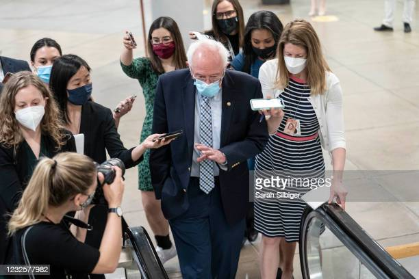 Sen. Bernie Sanders walks through the Senate subway to vote on the Senate floor at the U.S. Capitol on April 28, 2021 in Washington, DC. The Senate...