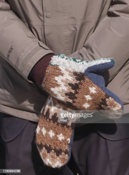 Sen. Bernie Sanders wears mittens as he attends the inauguration of Joe Biden on the West Front of the U.S. Capitol on January 20, 2021 in...