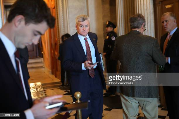 Sen Bill Cassidy moves through the US Captiol following a Republican caucus luncheon February 8 2018 in Washington DC Senate Majority Leader Mitch...